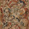 Monotypia na bibule autorstwa Witolda Jańczaka (1912-1985) przedstawiająca zarysy postaci wkomponowane w abstrakcyjne tło. Lata 60-te