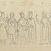Rysunek na papierze przedstawiający kilku średniowiecznych władców Polski i świętych. Grafikę wykonał Władysław Jańczak w (1912-1985) w latach 60-tych.