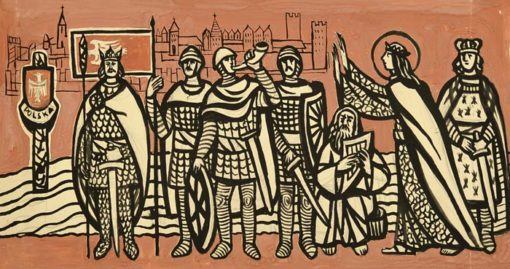 Obraz na papierze - projekt polichromii - przedstawiający Władysława II z orszakiem. Grafikę wykonał Władysław Jańczak w (1912-1985) w latach 60-tych.
