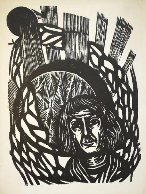 Grafika autorstwa Witolda Jańczaka (1912 - 1985) wykonana w latach 60-tych XX wieku z przedstawieniem Mikołaja Kopernika
