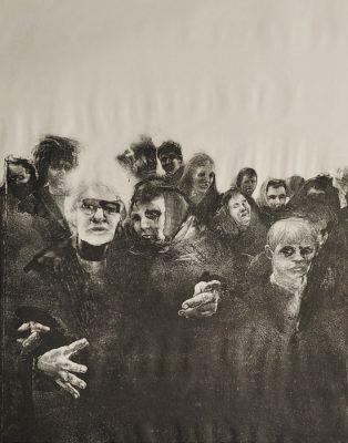 Grafika z przedstawiająca stłoczonych ludzi