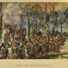 Grafika z reprodukcją obrazu Wojciecha Kossaka upamiętniająca bitwę pod Grochowem  w 1831 roku. Grafika wydana w technice druku barwnego w I połowie XX wieku