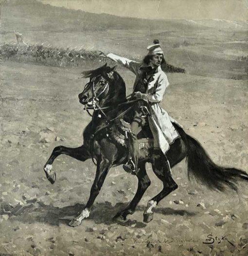 Grafika z reprodukcją obrazu Jana Styki i Wojciecha Kossaka wydana we Lwowie w 1917 roku w setną rocznicę śmierci Tadeusza Kościuszki.