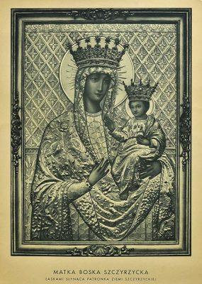 Grafika w technice światłodruku przedstawiająca święty obraz Matki Boskiej Szczyrzyckiej.