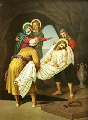 Niemiecka chromolitografia z II połowy XIX wieku ze sceną złożenia ciała Jezusa do grobu.