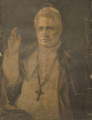 Grafika z 1918r. przedstawiająca portret papieża
