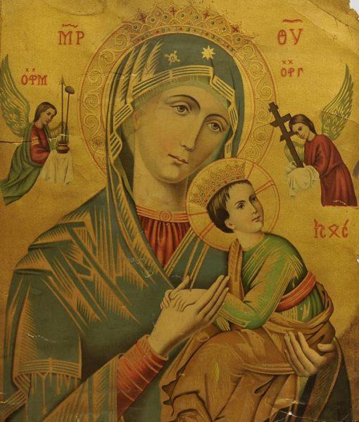 Chromolitografia z Matką Boską z Jezusem na rękach