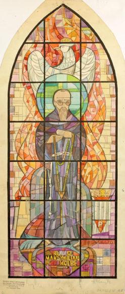 Projekt witraża z błogosławionym męczennikiem wykonany przez Helenę Bożyk do kościoła w Parczewie przed 1975 r.