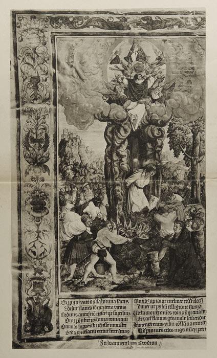 Światłodruk z I połowy XX wieku ze sceną spalenia na stosie męczennika - ilustracją renesansowej księgi - inkunabułu