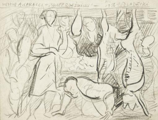 Rysunek na papierze wykonany przez Kazimierza Podsadeckiego w 1956 roku z przedstawieniem wnętrza sklepu rzeźnickiego.