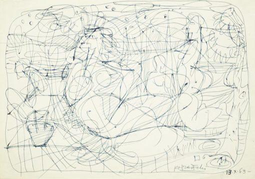 Rysunek na papierze wykonany przez Kazimierza Podsadeckiego 13 X 1963 przedstawiający postacie kobiece w abstrakcyjnym otoczeniu.