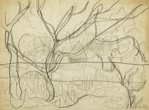 Rysunek na papierze wykonany przez Kazimierza Podsadeckiego. Sygnowany nazwiskiem artysty i datą: 4 X 1958
