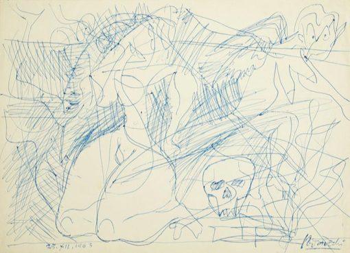 Rysunek na papierze wykonany przez Kazimierza Podsadeckiego. Sygnowany nazwiskiem artysty i datą: 25 XII 1963