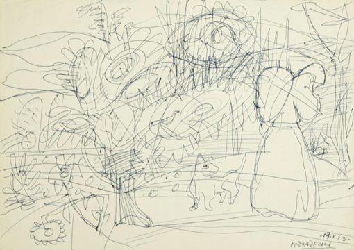 Rysunek na papierze wykonany przez Kazimierza Podsadeckiego. Sygnowany nazwiskiem artysty i datą: 13 X 1963