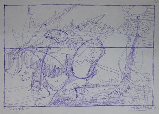 Rysunek na papierze wykonany przez Kazimierza Podsadeckiego. Sygnowany nazwiskiem artysty i datą: 23. 09. 1963