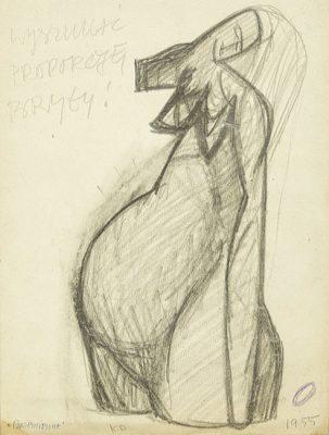 Rysunek na papierze wykonany przez Kazimierza Podsadeckiego. Sygnowany nazwiskiem artysty i datą: 1955