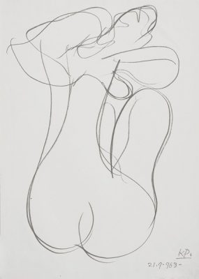 Rysunek na papierze wykonany przez Kazimierza Podsadeckiego. Sygnowany nazwiskiem artysty i datą: 1963