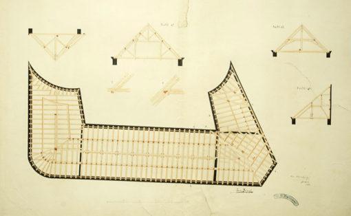 Rysunek podmalowywany z przedstawieniem planu więźby dachowej