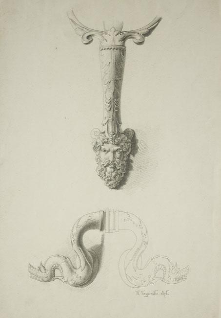 Rysunek ołówkiem na papierze przedstawiający detale architektoniczne z motywami głowy i smoków. Rysunek wykonany i sygnowany przez Waleriana Krycińskiego w 1868 roku.