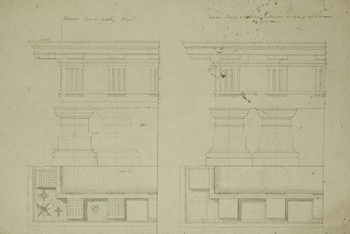 Rysunek akademicki z przedstawieniem planu starożytnego porządku architektonicznego - doryckiego