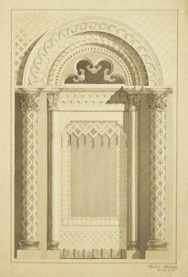 Projekt dekoracyjnego obramienia okiennego z elementami orientalnymi
