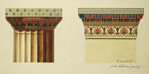 Projekt kapiteli kolumn greckiego porządku architektonicznego