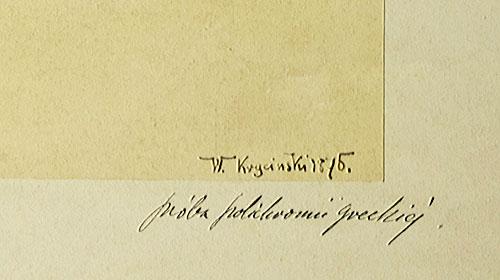 wykonany i sygnowany przez Waleriana Krycińskiego w 1895 roku.