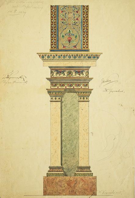 Projekt polichromii kolumn w porządku greckim do cerkwi w Kołomyi