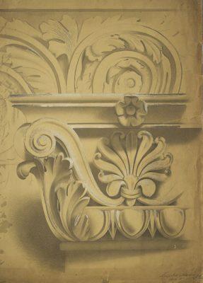 Rysunek podmalowywany akwarelą przedstawiający fragment dekoracji architektonicznej - kolumny i architrawu