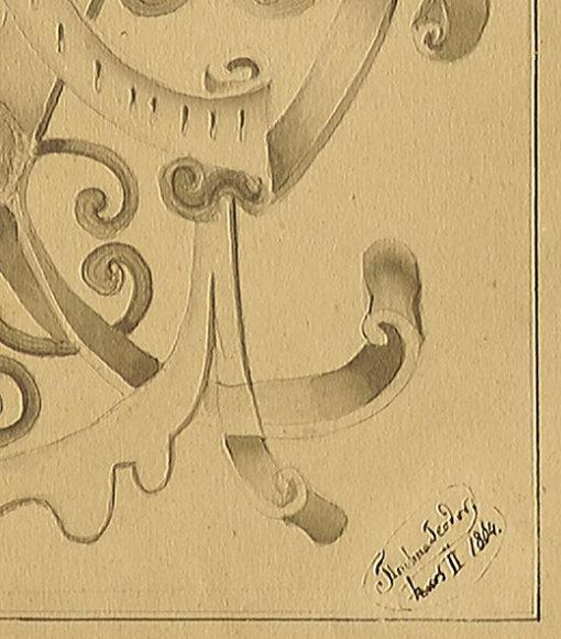 przedstawiający fragment dekoracji ornamentalnej z elementami groteski