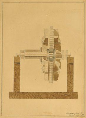 Rysunek podmalowywany akwarelą przedstawiający koło zębate na drewnianym stelażu. Akwarela sygnowana przez Leopolda Tlachnę w 1864 roku