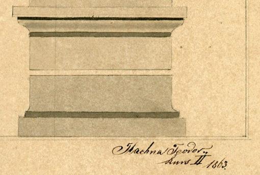 przedstawiający fragment antycznej kolumny doryckiej z fryzem
