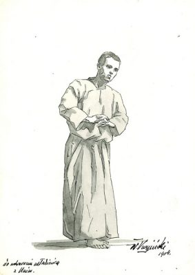 Akwarela z portretem młodzieńca