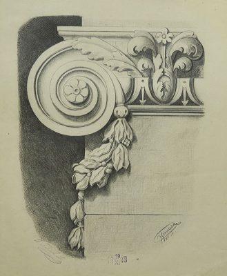 Rysunek akademicki ołówkiem na papierze z 1873 roku