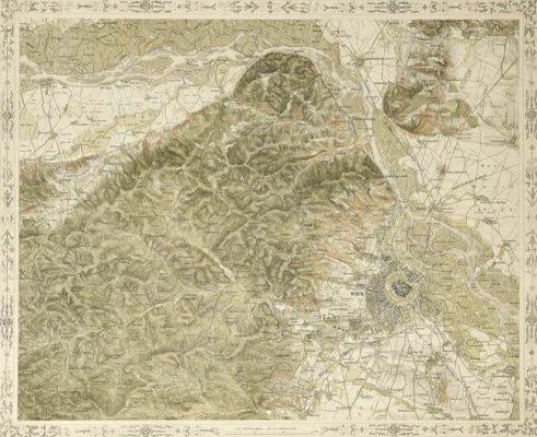Mapa wykonana w technice litografii z planem topograficznym Wiednia i okolic. Grafika XIX-wieczna wykonana prawdopodobnie w początkach drugiej połowy wieku.