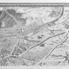 Reprodukcja z miedziorytu mapy z planem zabudowań miejskich francuskiego miasteczka Marcel i Petit-Gentilli nad rzeką Bievre w okolicach Paryża.