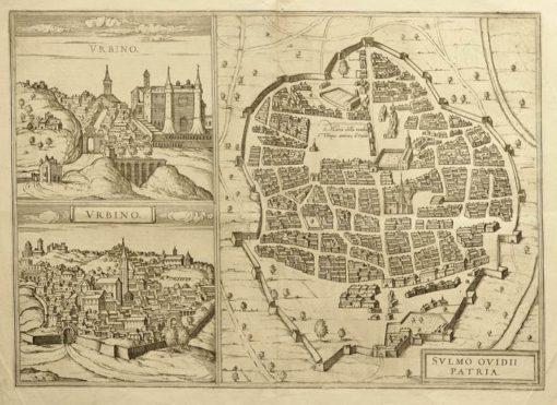 Mapa wykonana w technice miedziorytu na początku XVII wieku przedstawia miasto Sulmo - miejsce narodzin Owidiusza oraz 2 widoki Urbino.