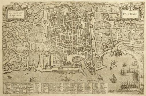 Mapa wykonana w technice miedziorytu na początku XVII wieku przedstawia panoramę miasta Palermo z dokładnym opisem i z portem nad Morzem Śródziemnym.
