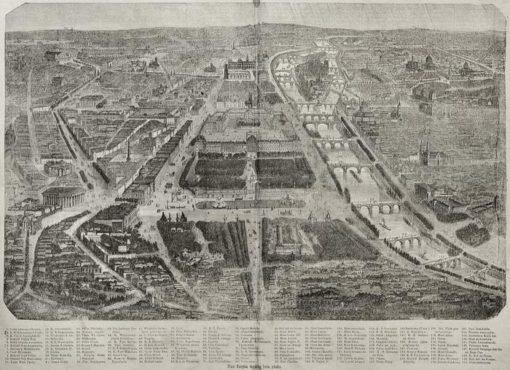 Plan Paryża wykonany w 1871 roku w technice drzeworytu sztorcowego. Na mapie oznaczono i opisano 150 obiektów.