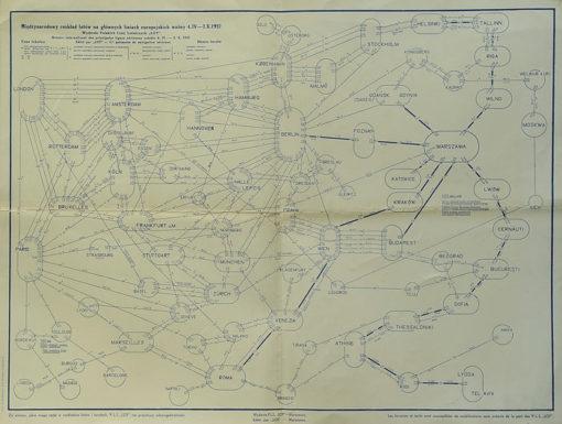 Międzynarodowy rozkład lotów na głównych liniach europejskich wydany przez PLL LOT