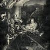 Dużych rozmiarów litografia na papierze przedstawiająca scenę Bożego narodzenia