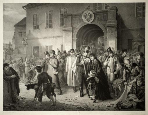 Dużych rozmiarów litografia z II połowy XIX wieku wykonana przez Franciszka Hanfstangla w Mnichowie według Obrazu Aleksandra Kotsisa.