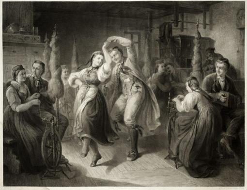 Dużych rozmiarów staloryt ze sceną tańca ludowego w izbie wśród prządek