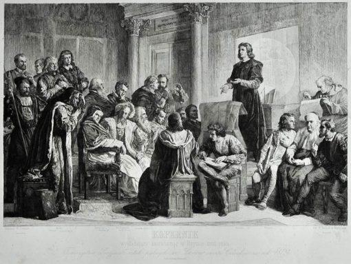 Dużych rozmiarów staloryt ze sceną wykładu Kopernika w Rzymie w 1500 roku. Grafika wykonana przez H. Redlicha w Warszawie według obrazu Wojciecha Gersona w 1876 roku.