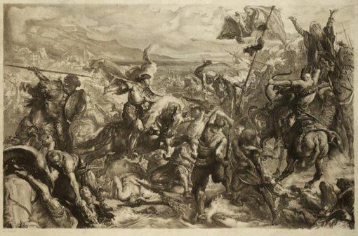 Staloryt ze sceną bitwy pod Warną. Grafika wykonana przez I. Łopienskiego według obrazu Jana Matejki w II połowie XIX wieku.