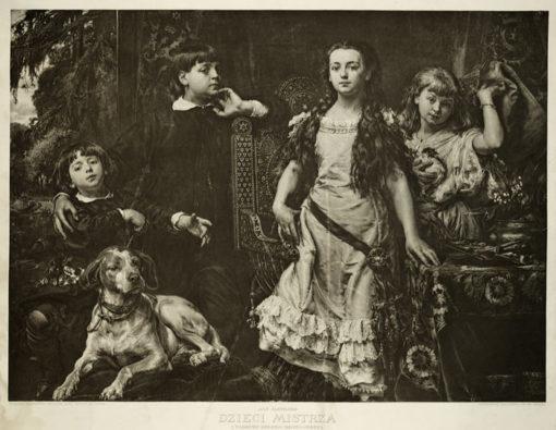 Heliograwiura z 1912 roku z reprodukcją obrazu Jana Matejki z portretem dzieci: Tadeusza
