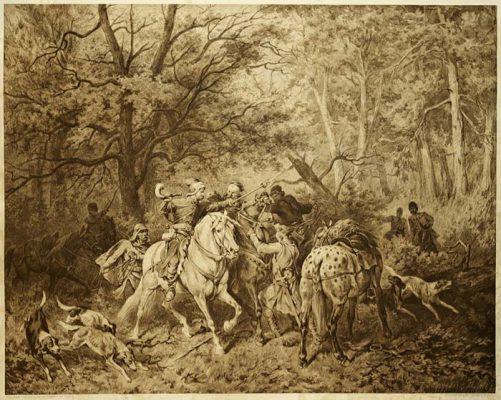 Heliograwiura z 1900 roku z reprodukcją obrazu Juliusza Kossaka: Piotr Wlast Dunin ze Skrzynna bierze Włodara