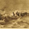 przedstawia żaglówki kładące się na wzburzonym morzu pod wpływem silnego wiatru.
