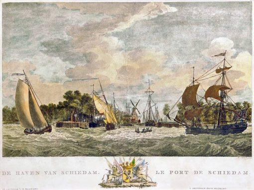 Grafika w technice ręcznie kolorowanego miedziorytu z początku XIX wieku z przedstawieniem holenderskiego portu w Schiedam.