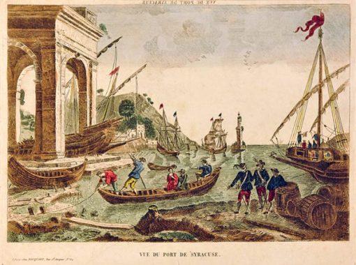 Francuska grafika w technice ręcznie kolorowanego miedziorytu z początku XIX wieku z przedstawieniem portu w Syrakuzach